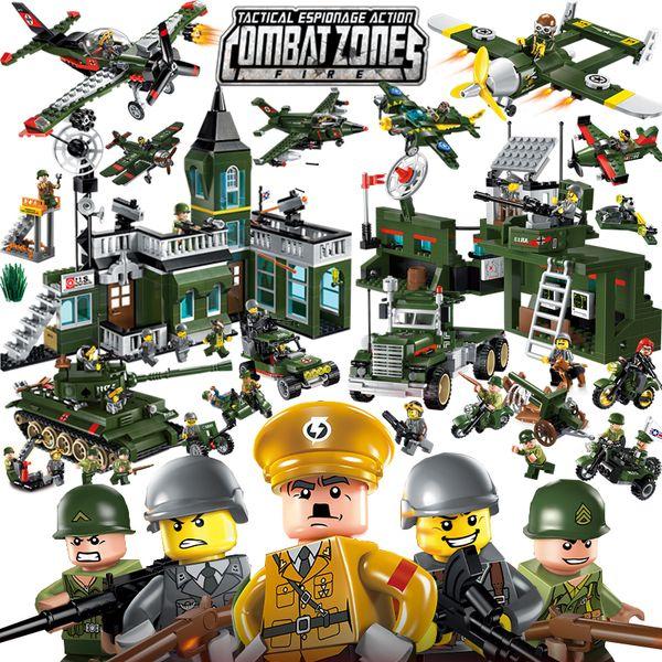 Enlighten Militare Educativi Building Block Giocattoli Giocattoli per bambini Regali Esercito Jeep Moto Pistola Eroe della guerra mondiale Arma Grazie Pistola MX190731