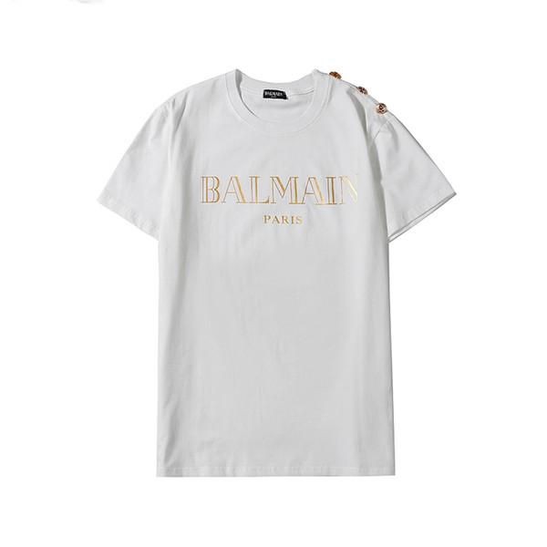 Luxo Mens T Shirt Mulheres Marca T-shirt Carta Imprimir Pullover Homens Camisas Casual Luxury Botão camisola fina blusa do ouro 18112 B105203L