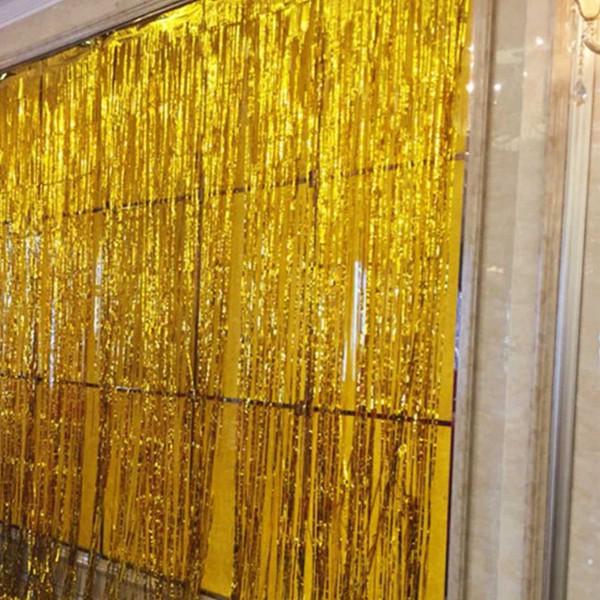 2 * 1 m Metalik Folyo Perde Düğün Backdrop Doğum Parti Süsleri Çocuk Parti Püskül askıbezekler Mariage Dekorasyon Malzemeleri