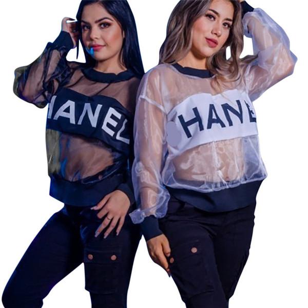 Tasarımcı Lüks Moda Kadın T-Shirt Polyester Organze Mektup Baskılı See-through Bluzlar Kadınlar Tasarımcı Plaj Kapak Up S-XXL C62608 Tops