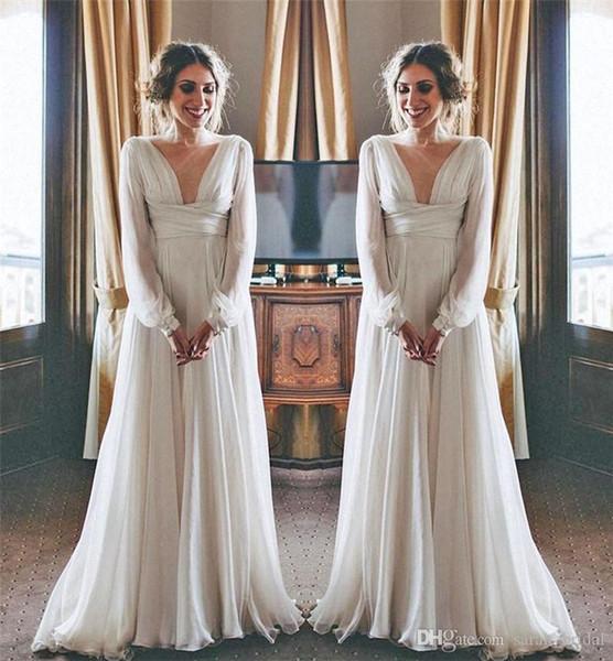 Modest Hippie Boho Brautkleider 2019 mit langen Ärmeln Hohe Taille Plus Size Chiffon Günstige Mutterschaft Land griechischen Stil Brautkleider