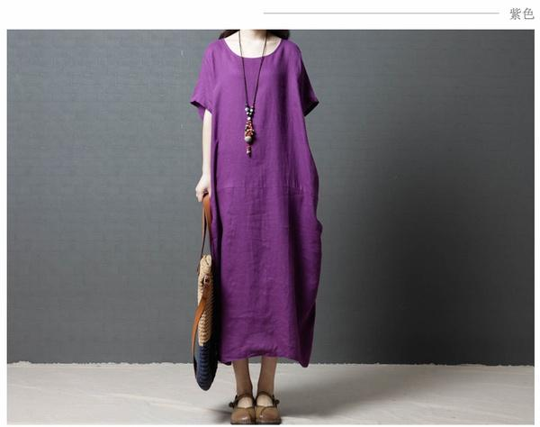 Plus Size S-5XL Vintage Womens O Neck Casual Loose Baggy Cotton Oversize Long Shirt Dress