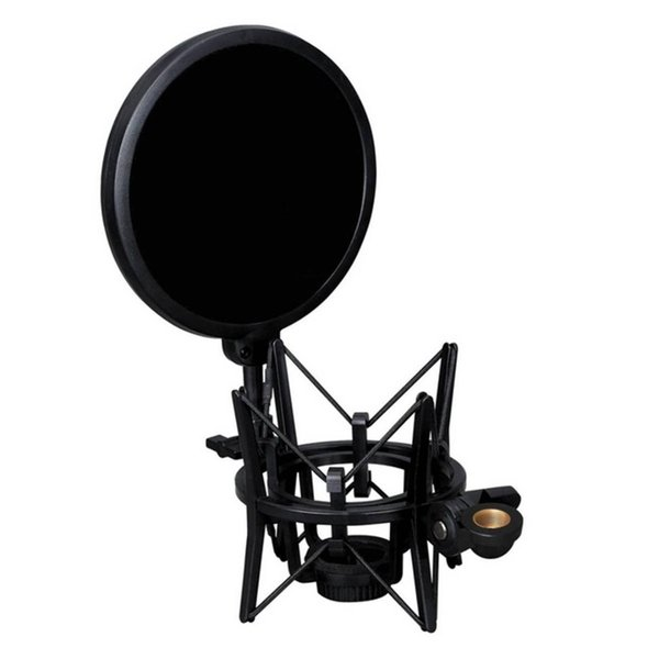 TTKK Professional microphone holder with integrated microphone Mic pop shield filter