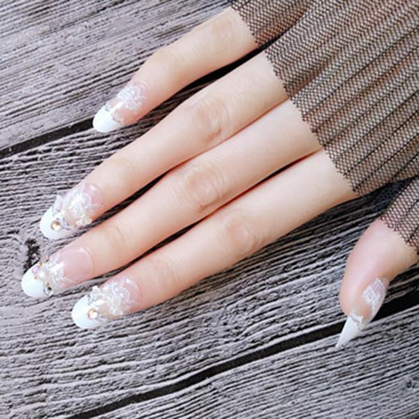 Dropshipping 24 Pcs/Set Women Lady 3D False Nails With Glue Transparent Lace Designed Full Wrapped Tips Wedding Bride Fake Nail