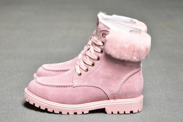 sheepskin fur half boots wgg 2020 winter laceup snow solid leather outdoor womens girl half boots ankle boots black grey pink shoes