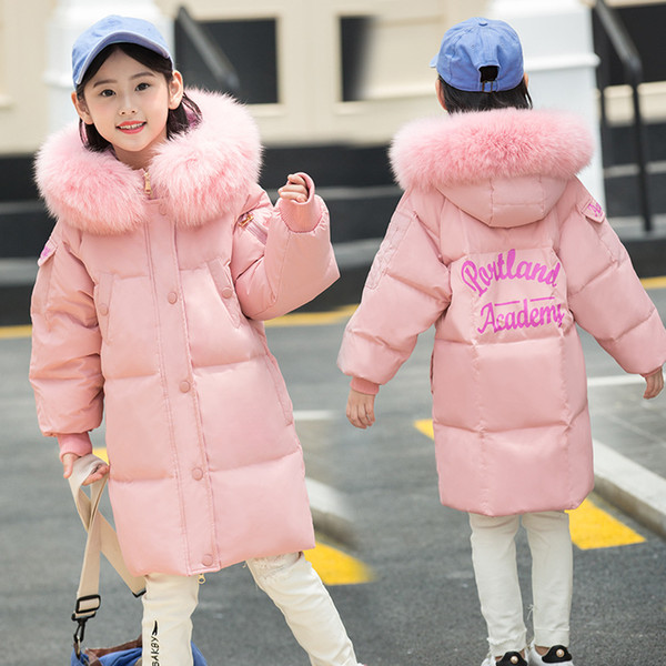 Girl's 6-14Years Big Fur Hooded Letters Print White Duck Fur Cold Winter Down Coats Pink Big Outdoor Jacket Coats