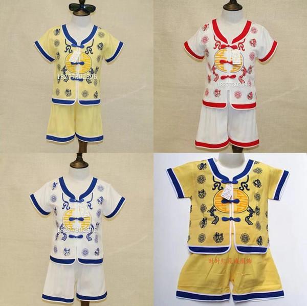 Kinder Baby Jungen Traditionellen Chinesischen Tang Anzug Bestickt Kurzarm Kinder Sommer Tops Shorts Outfits Hose Set 2 Stück