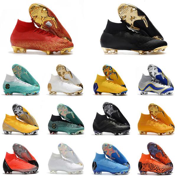 2018 Word Cup Football Boots Men Mercurial Superfly VI 360 Elite Neymar FG Soccer Shoes High Ankle Kids SuperflyX KJ XII Ronaldo CR7 Cleats