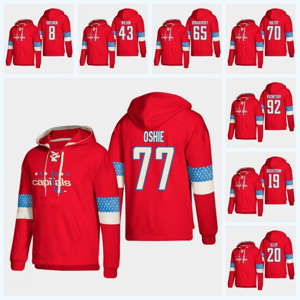 Nicklas Backstrom Capitals de Washington 2019 Nouveau chandail à capuchon Stlye T.J. Oshie Alex Ovechkin Maillot Tom Wilson Braden Holtby Andre Burakovsky