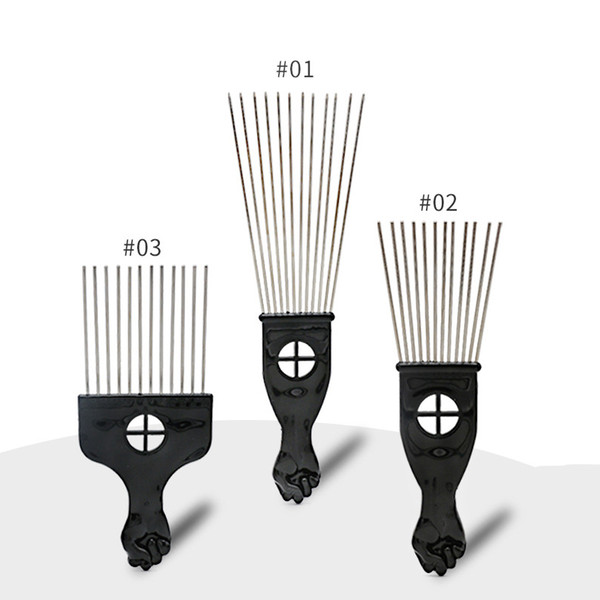 Retro Oil head Professional Flat Comb Fork comb Steel needle Pick Hair flat comb Hairdressing Styling Tools barber brush