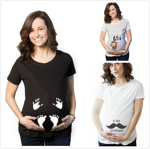 Pregnant T shirts Maternity White Tees Tops Women clothing Letters Geometric Simple All-matched 2019 Summer wholesale