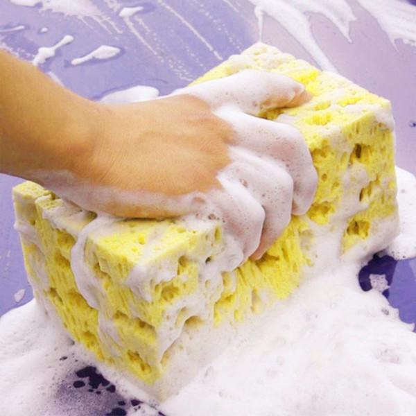 Lavado de coches esponja de limpieza automática Esponjas del bloque de la venta caliente de nido de abeja amarilla de la arandela del coche estilo limpio Herramientas 17x10x7.5cm