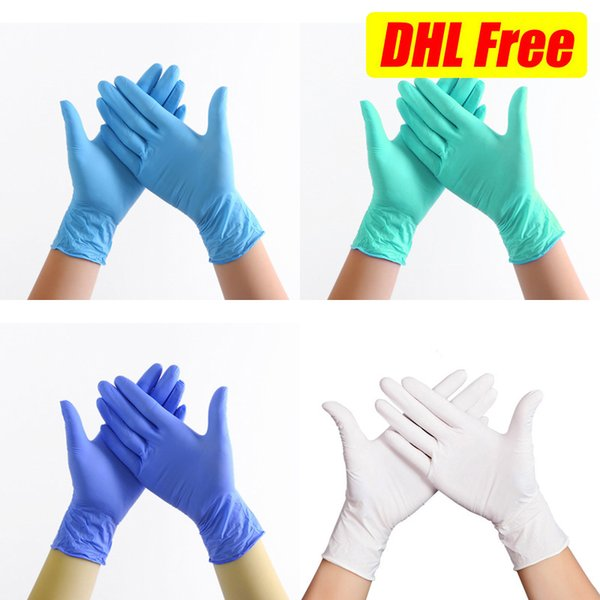 top popular Disposable Gloves Food Grade Cleaning Blue White Green Nitrile Latex Universal Protection of Hand Dishwashing Kitchen Washing DHL Free Shipp 2020