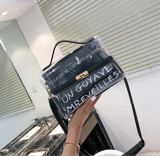 Nouvelle version coréenne des femmes de la mode sauvage PVC transparent sac à dos Loisirs sac à main fermeture à glissière Sacs à bandoulière Paquet diagonale sacs transparents