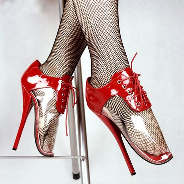 "Sexy Fetish Ankle Pumps Extreme 18CM/7"" High Heel Ballet Shoes Plus Size Lace Up Clear Transparent Unisex Party Shoes"
