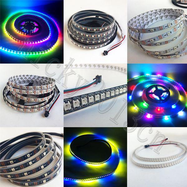 5V WS2812B LED Pixel Flex Strip Light 5050 RGB SMD 30LEDs/M 60LEDs/M  144LEDs/M Magic Color Non IP65 IP67 Waterproof Individual Addressable  Battery Led