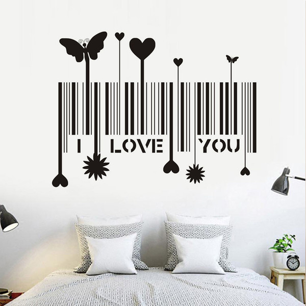 1 Pcs I Love You Barcode Home Decor Creative Decal Butterfly Heart Flower Vinyl Wall Sticker Decorative Adesivo De Parede Removable