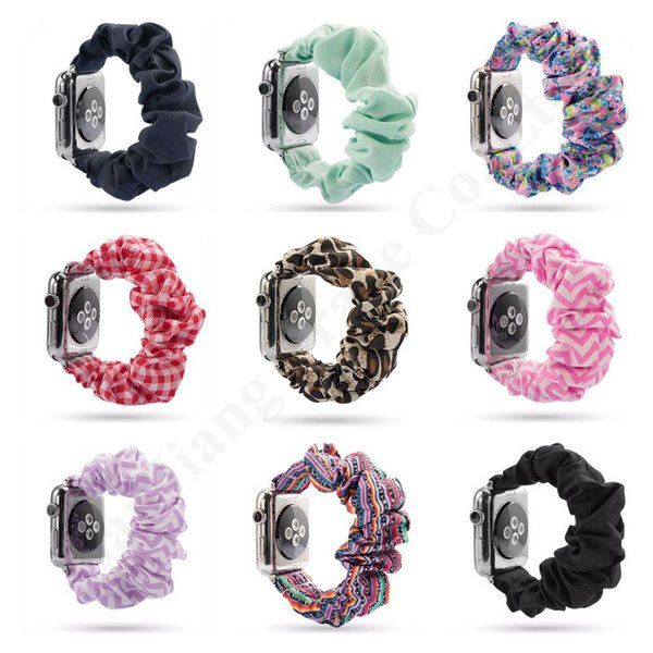 best selling 34 Colors Scrunchie Apple Watch Bands 38mm 42mm Watchband Scrunchies Replaceable Floral Sunflower Striped Plaid Wrist Watch Straps A101703