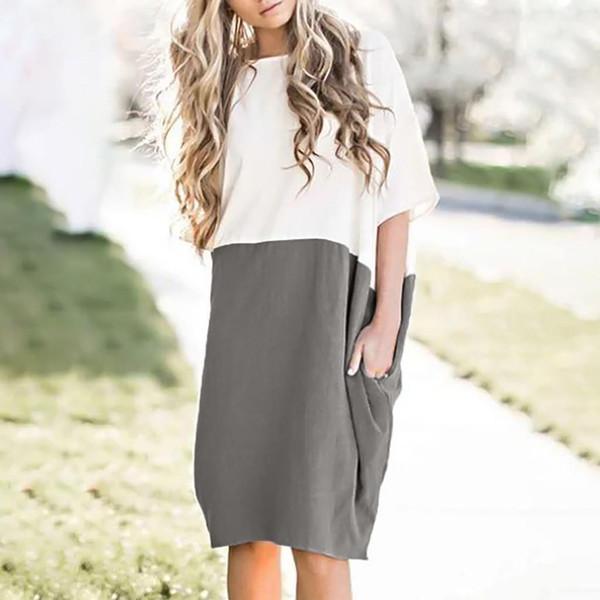 YENI Kadın Casual Gevşek Elbise Keten Patchwork Yarım Kollu Katı Düğme Splice Cep Elbise Moda yaz elbiseler robe femme