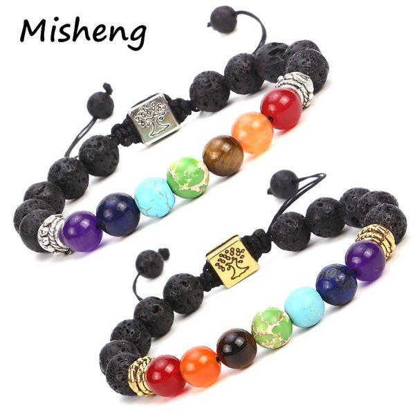 Misheng Neue Lebensbaum Perlen Naturstein 7 Chakra Armband Yoga Energie Stein Mode Weben String Perlen Armband Schmuck