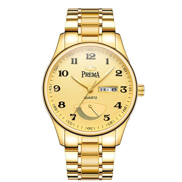 Prema New Fashion Business Sunday Calendar Jinggang Reloj de cuero para hombres Reloj de cuarzo resistente al agua IP galvanizado Tuhaojin para hombres