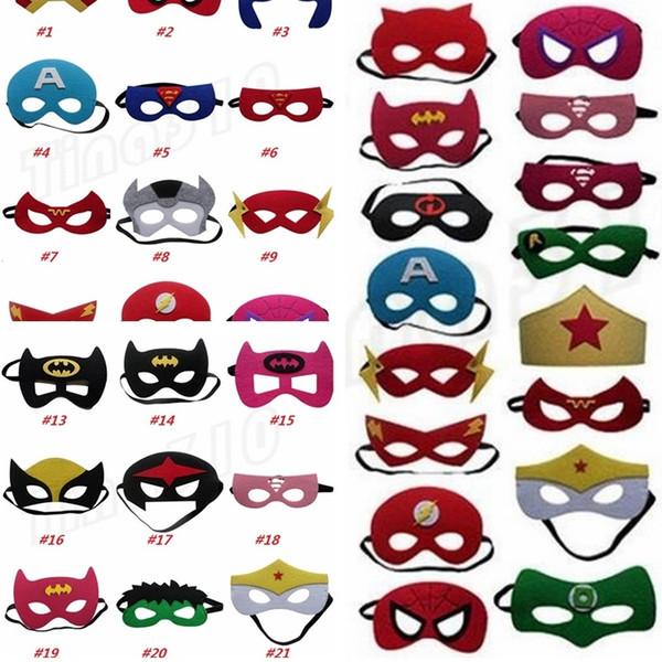 Hot 35 styles Superhero Kids Cartoon Eye Masks Halloween mask Christmas Captain America Wolverine Party Costumes mask for Children