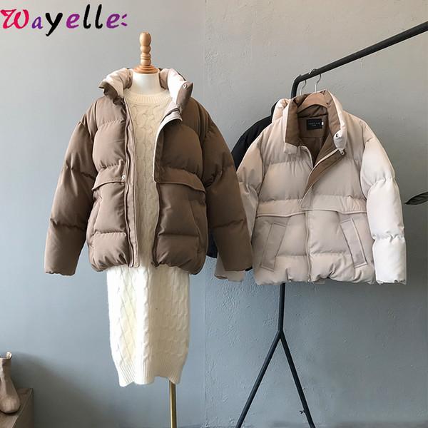Jacket Harajuku inverno Brasão Mulheres 2019 New Casual Quente solto Thicken algodão acolchoado Parkas Mulheres coreano Chic Overcoats