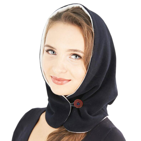 Outdoor Winter Warm double color Hat For Women Thick Double Full Face Mask Winter Neck Solid Plus cap hooded scarf with button
