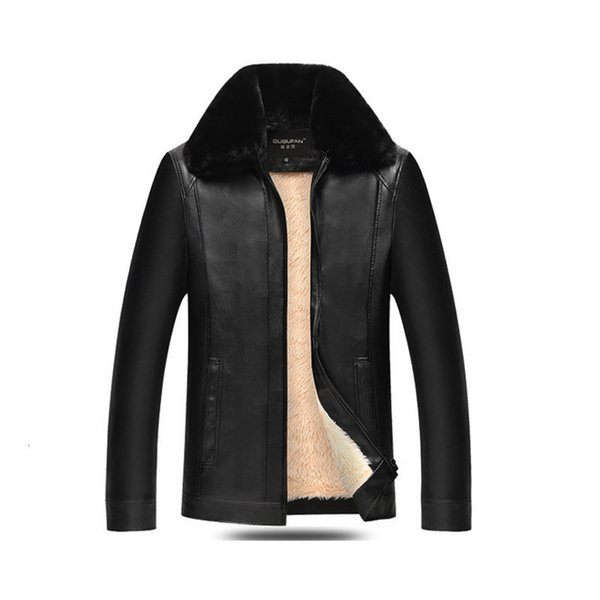 Mens PU Leather Jacket Fleece Liner Turn-down Collar Autumn Winter Outerwear Black/Brown Slim Fit Simple Business Man Coat