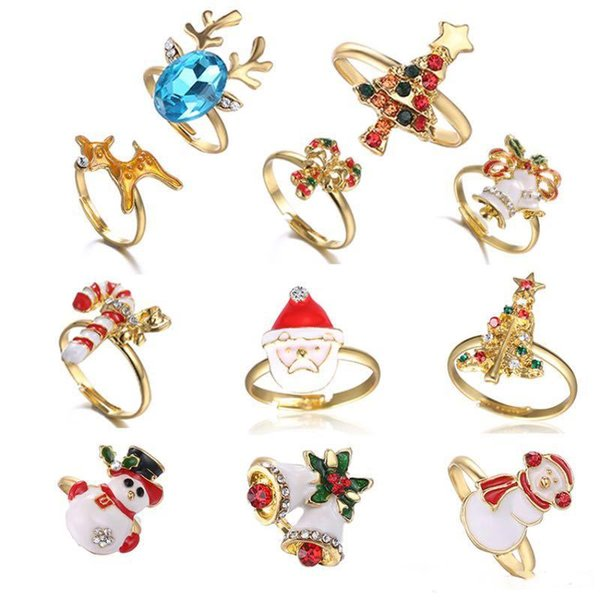 2018 Christmas Series Funny Rings Santa Claus Snowman Deer Bell Christmas Tree Opening Adjusted Size Christmas Gift Fashion Jewelry