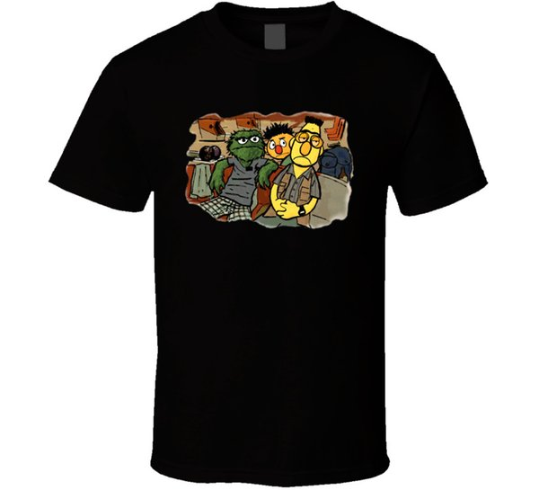 The Big Lebowski The Dude Sesame Street-Parodie-schwarzes T-Shirt Elmo Bert Ernie
