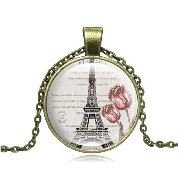 New Fashion Pendant Necklace 2019 Time gem Glass Necklace Necklace sweater chain of Eiffel Tower France Symbol