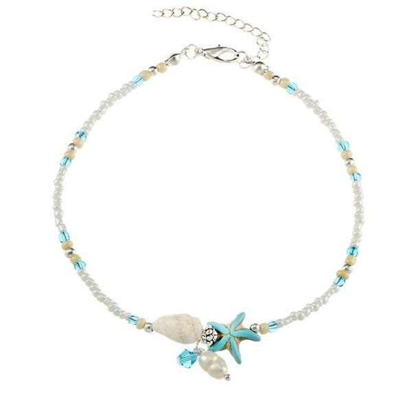 Boho freshwater pearl charm anklets women barefoot sandals beads ankle bracelet summer beach starfish beaded ankle bracelets K3546