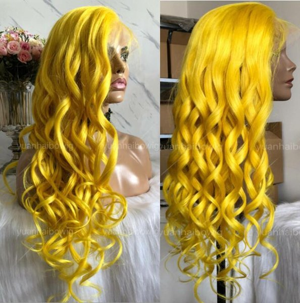 Yellow Full Lace Wig High Quality Indian Hair Virgin Human Hair Color Lace Wigs Celebrity Wig Loose Wave Front Lace Wigs Free Shipping