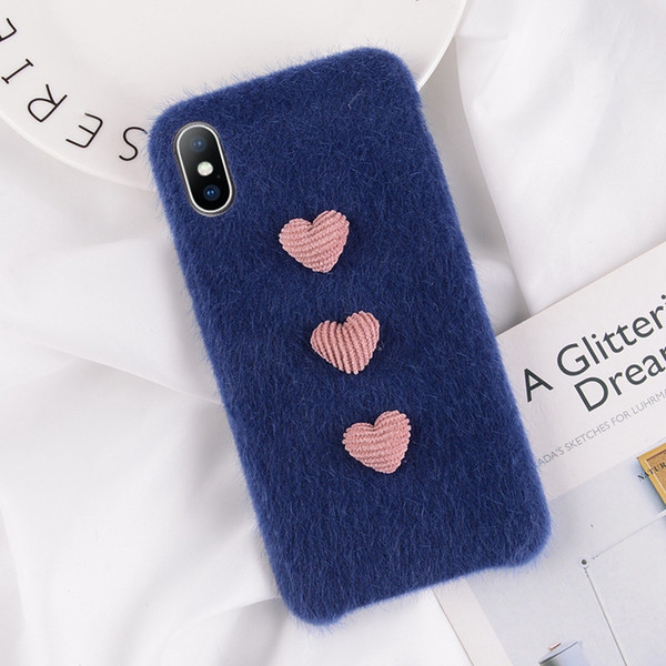 Mytoto Furry Phone Case For iPhone X XS XR XS MAX Soft PU Cover Winter Warm Plush 3D Love Heart Cases For iPhone 7 8 6 6S Plus