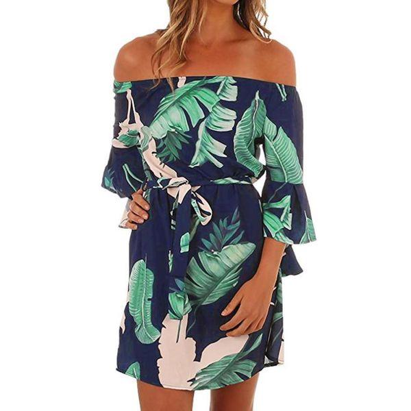 Leaves Printed Dress For Women Off The Shoulder Flare Sleeve Short Dress Ladies Autumn Half Sleeves Bow Waist Dresses #JN