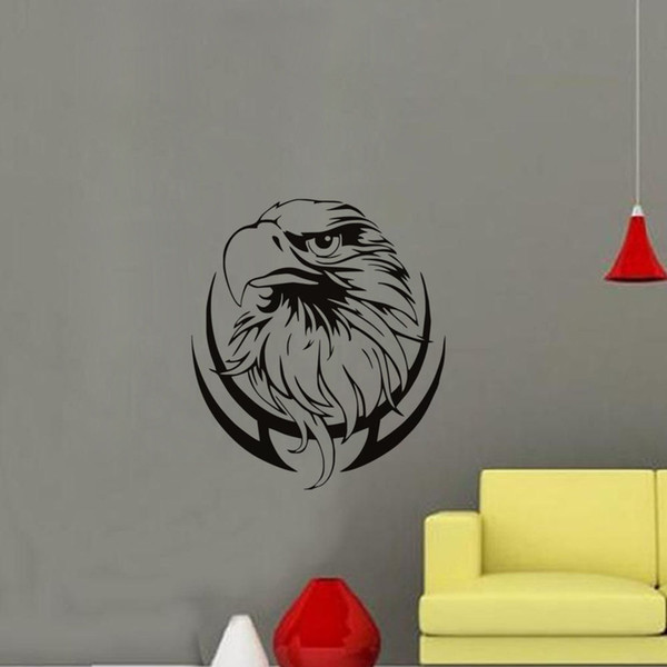 Removable Vinyl New Design Eagle Head Branch Wall Stickers Home Decor Living Room Custom Color Wall Art Decals Wallpaper