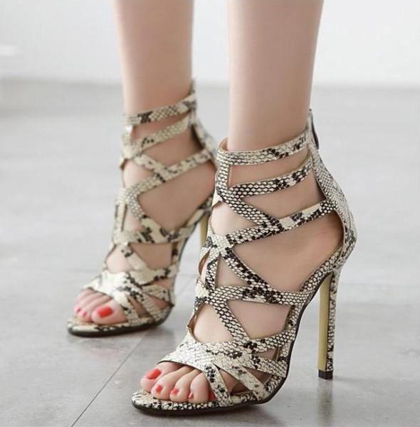 Serpentine Leather High-heeled Sandals Cross Straps Heels Block Party Dress Shoes Wholesale Fashion Women Pumps Size 35-40