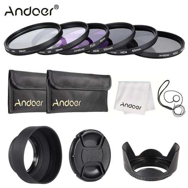 filter kit Andoer 49-77mm Filter Kit UV+CPL+FLD+(2 ND4 ND8) with Carry Pouch/ Cap/ Cap Holder/Tulip & Rubber Lens Hoods