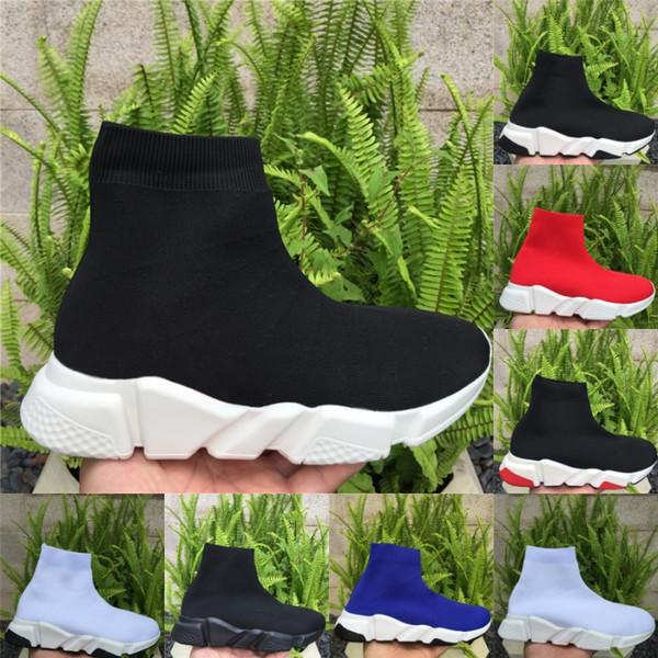 Kısa çizmeler örgü çorap ayakkabı erkekler hız trainer kadın sneakers Walking Casual Ayakkabı Tüm Siyah yüksek Chaussures Moda Lüks tasarımcı ayakkabı
