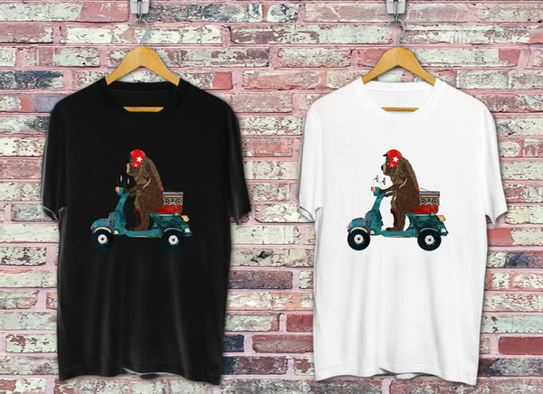scooter bear Black & White T-shirt Cool xxxtentacion marcus and martinus tshirt discout hot new top free shipping t-shirt