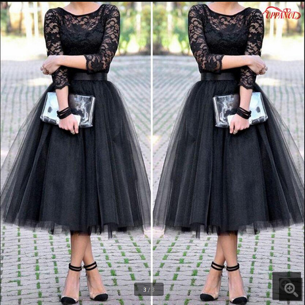 Elegant A-Line Short Prom Dresses 2017 black lace Three Quarter Sleeve Scoop Neck Tea-Length Prom Dress With Sashes prom gowns hot sale