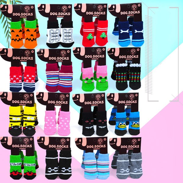 Pet Warm Socks For Winter Puppy Dogs Soft Cotton Anti-Slip Knit Weave Sock Skid Bottom Dog Cat Socks 4pcs/Set (Random Color) M892F