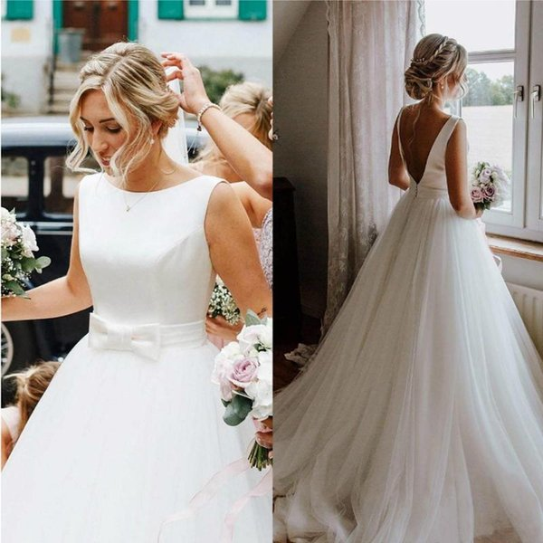 Simple a line tulle beach wedding dre e with bow jewel neck weep train vintage wedding bridal gown robe de mariée