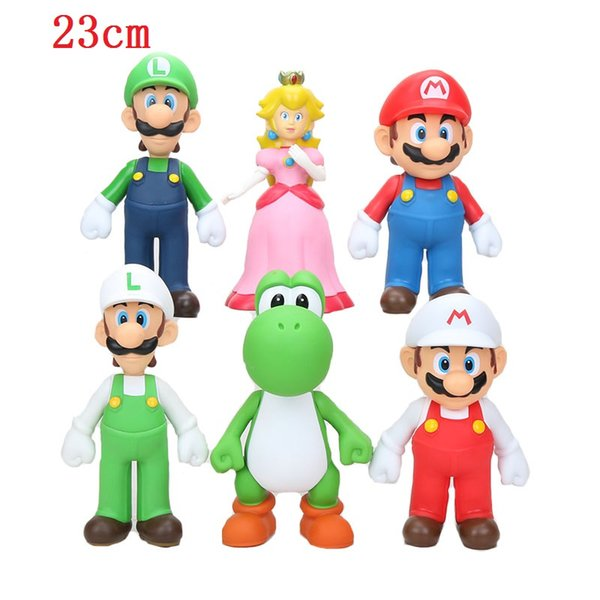 bros 23cm 3pcs Super Bros Mario Yoshi Luigi PVC Action Figure Collection Model Toys Dolls Children Kids Toy
