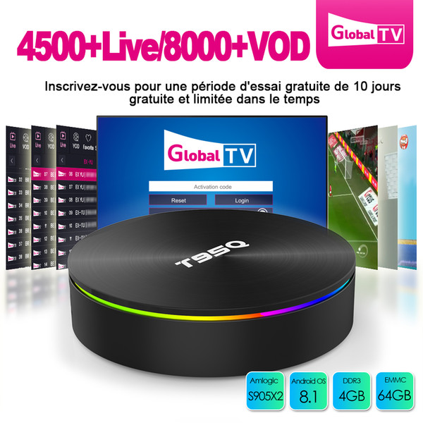 Android TV Box with code iptv Smart S905X2 4GB 64GB Android 8.1 iptv box 4k Sunvell T95Q support 5.8G AC Wifi iptv subscription 4500 channel