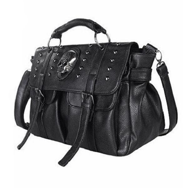 Sac à bandoulière Lady Fashion Bag Designer Punk Skull Rivet All-Match Sac à main pour femme Black Big Tote
