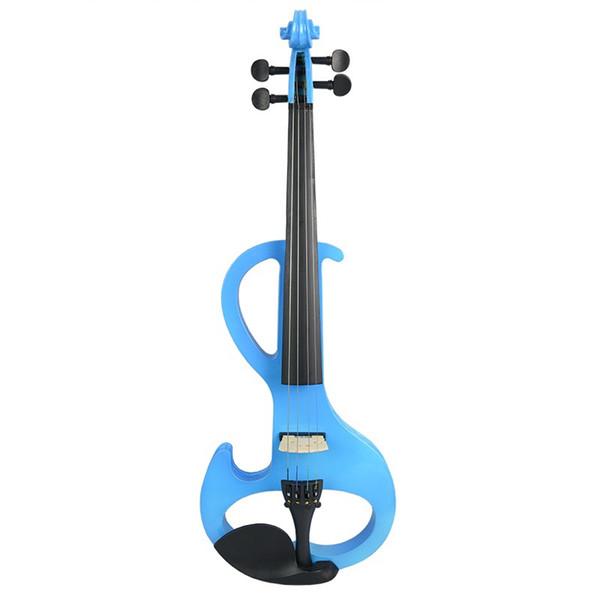 top popular NAOMI Electric 4 4 Violin Silent Pickup Basswood Violin Pegs Fingerboard FULL SIZE VIOLIN SET Blue S 2021