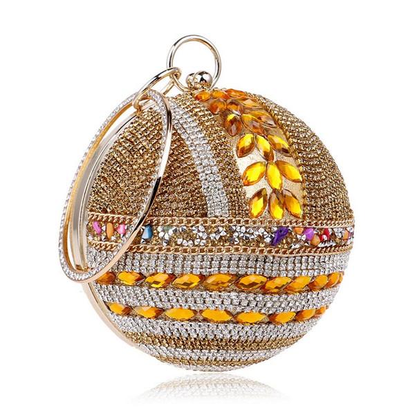 Designer-Fashion cristal perlé femmes sac à main diamants soir soirée sac à main fête de mariage mariée boule ronde forme embrayages femmes sacs à main