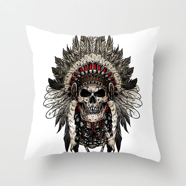 Indian Chief Headwear Feather Cushion Covers Indian Apache Skull Elephant Pillow Cases 44X44cm Sofa Chair Decoration